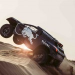 Carlos Sainz performs during the Peugeot test in Erfoud, Morocco, on September 14th, 2015